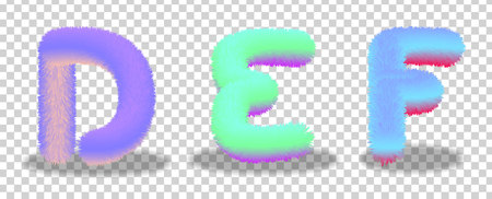 set of letters D,E,F with the effect of fur.