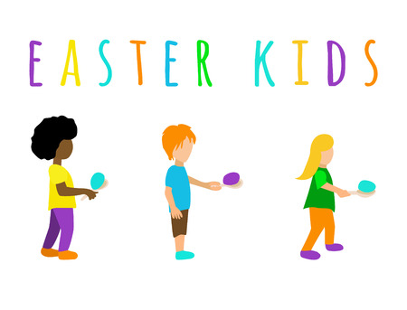 Set multiracial kids or children playing with multicolored easter eggs outdoor. the children hold the egg in the spoon and go 版權商用圖片 - 124277909
