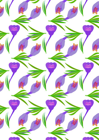 pattern with Crocus and yellow circles Violet flowers with green leaves. Spring flowers