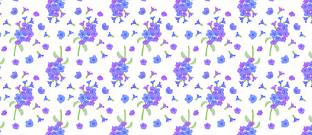 pattern with Pulmonaria flowers. Pulmonaria lungwort flowers. different shades of violet in one inflorescence.