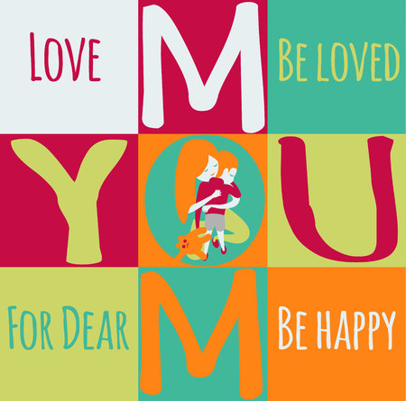 Mother s day greeting card template. mother with SON . woman hugging her child. Boy holding a teddy bear