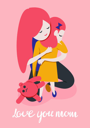 daughter hugging mother. Mother s day greeting card template on pink background. Girls with teddy bear. Love you mom