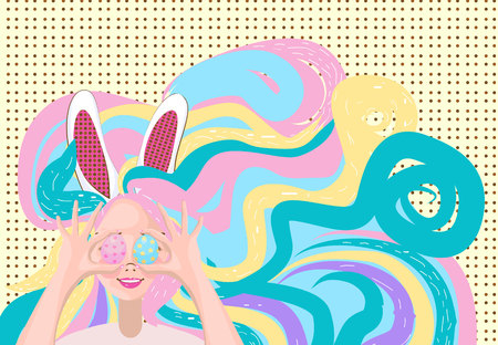 happy young woman with bunny ears on his head holding up a colorful Easter egg in front of her eye Illustration