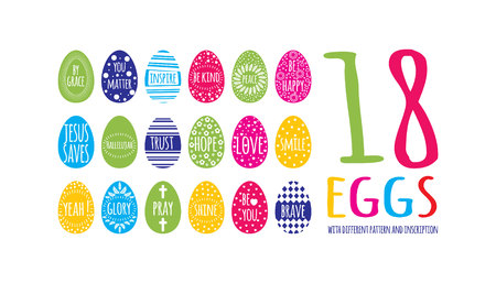 multicolor easter eggs collection with geometry pattern and different inscription on bright colors