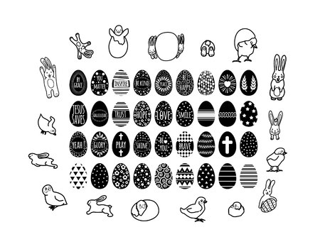 set of cute chickens and bunny with easter eggs collection with black geometry pattern and different inscription.