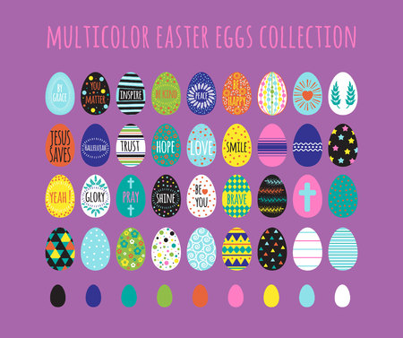 easter eggs collection with multicolor geometry pattern and different inscription.