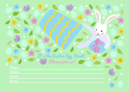 Easter invitations templates with bunny hides easter egg under the bucket and typographic design. Happy Easter Egg Hunt Ilustração