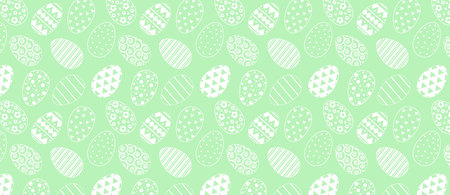 pattern with easter eggs. White line pattern on green background