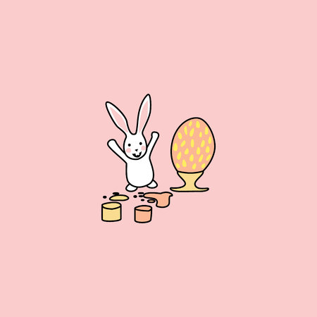 the rabbit jumped and raised its paws up. The hare rejoices when coloring an Easter egg. A large egg stands on a stand, two paint buckets. funny bunny. hand drawn elements on pink background