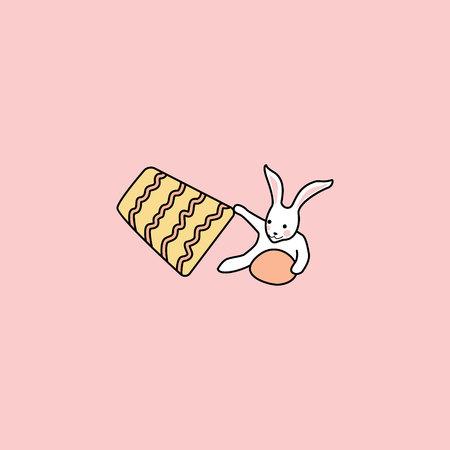 bunny hides easter egg under the bucket. funny bunny. hand drawn elements on pink background Ilustração