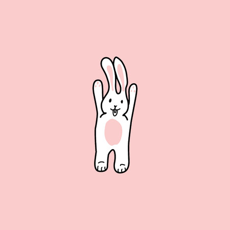 the rabbit raised its paws up. funny bunny. hand drawn elements on pink background Ilustração