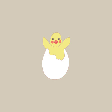 the chick jumped out of the hole of the broken egg and flaps its wings. chicken hatched from an egg Ilustracje wektorowe