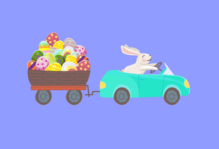 Happy bunny is driving the blue car and drag the egg basket with multicolor eggs on violet background. happy easter rabbit
