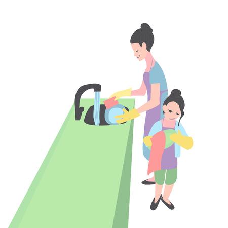 madre e hija lavando platos. Mujer y niña en la cocina. Ilustración de vector
