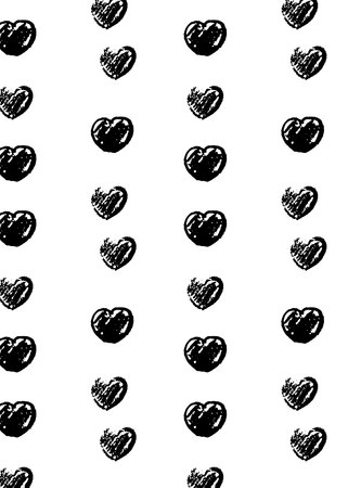 pattern with black hand drawn hearts on white background for Valentine s Day, Mother s Day and Women s Day. Ilustração