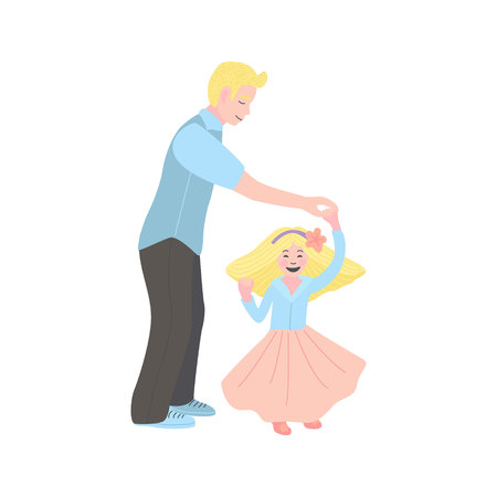 Flat vector illustration. dad dancing with his daughter. man with a little girl. Dance with my dady