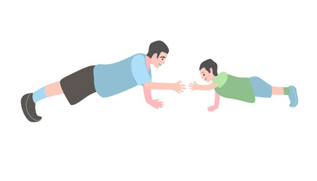 son with his father doing an exercise. Little boy and man pushing up. Flat vector illustration.