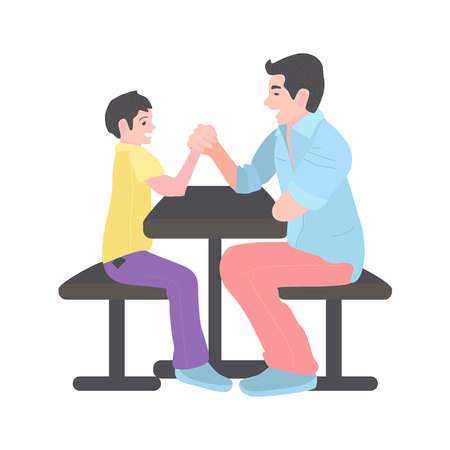 dad competes with his son in arm wrestling. A man with a little boy is sitting on a bench at the table.