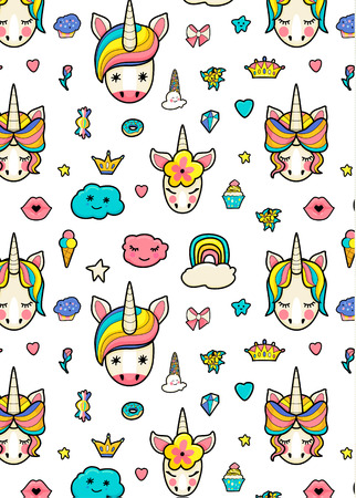 Pattern with cute faces of unicorns, ice cream, stars, hearts, donut, rainbow, crowns, cupcake. Dreaming unicorns in bright colors