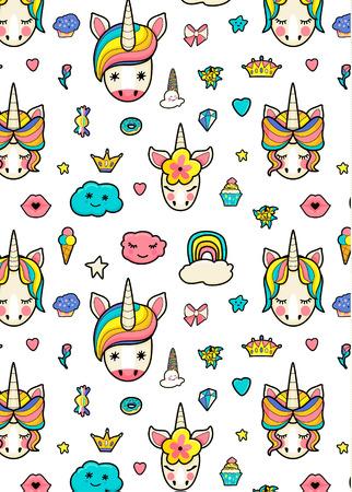 Wzór z uroczymi twarzami jednorożców, lodów, gwiazd, serc, pączków, tęczy, koron, ciastek. Śniące jednorożce w jasnych kolorach