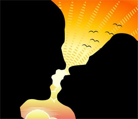 Silueta de dos caras de perfil de un hombre y una mujer en un beso con el telón de fondo del amanecer