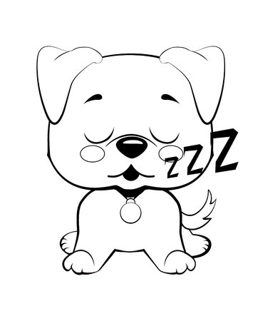 puppy character sleeping on its back, cute funny terrier vector illustration Reklamní fotografie - 123695525