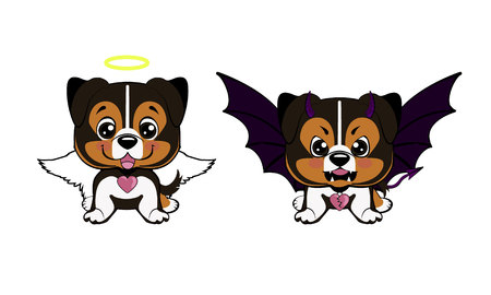 Devil Dog with horns and bat wings and happy dog angel Ilustracja