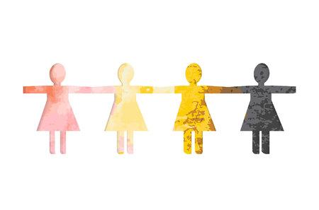 recorta siluetas de mujeres en papel sobre un fondo de manchas de acuarela multicolores. El concepto para el día de la mujer de color. Las mujeres juntas unieron sus manos.