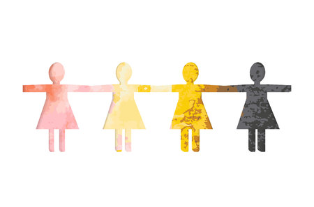 Schneiden Sie Papiersilhouetten von Frauen vor einem Hintergrund von bunten Aquarellflecken aus. Das Konzept für den Tag der farbigen Frauen. Die Frauen reichten sich die Hände.