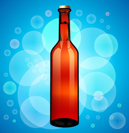 Glass Beer Brown Bottle. Ready For Your Design. Vectores