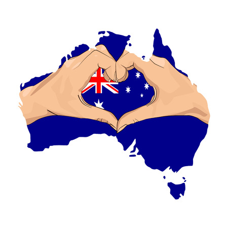 hand forming a heart shape with flag and map of australia Stock Illustratie