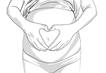 Pregnant Woman holding her hands in a heart shape on her baby bump. Pregnant Belly with fingers Heart symbol. Body care. Young woman. pregnant woman making heart gesture black line on white background