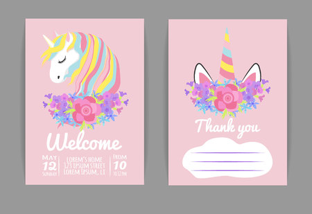 set template for baby shower or birthday invitation with unicorn and spring flowers Imagens - 122793763