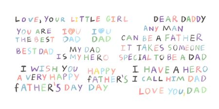 Happy fathers day multicolor set fathers day inscriptions