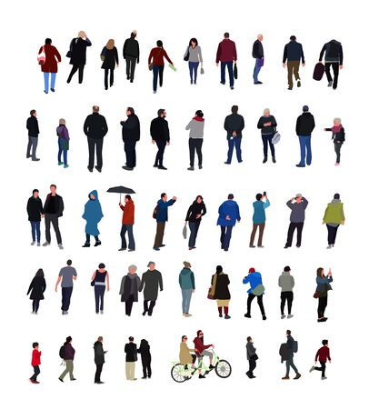 Set of people characters performing various activities. Group of men and women flat design style cartoon characters isolated on white background.