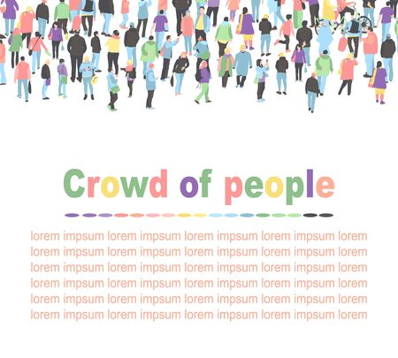 Crowd of walking people vector background. people group