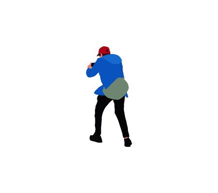 guy with a backpack behind his back makes photo using a smartphone Ilustração