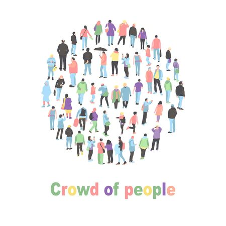 a crowd of people in the shape of a circle. large group of people decide