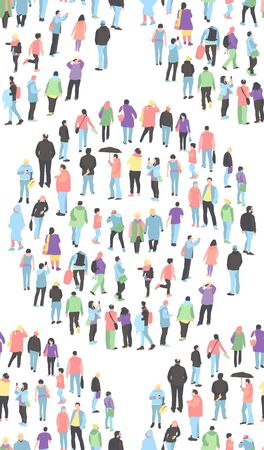 pattern with a crowd of people