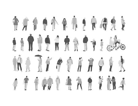 Set crowd of people characters performing various activities. Group of men and women flat design style cartoon characters.