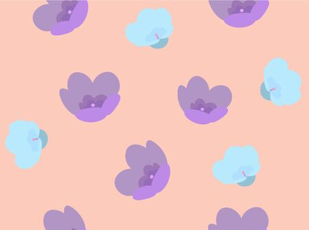 Pattern with multicolor flowers on pink background. Violet, blue flowers