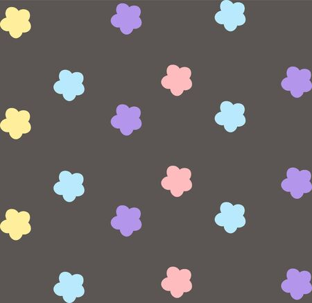 pattern with violet, yellow, blue and pink flowers