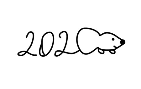 hand drawn mouse in line style. Vector illustration.