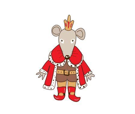 Mouse King Christmas cartoon illustration. Vector illustration isolated on white background. Illustration