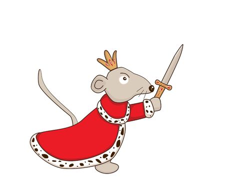 Cute cartoon character Mouse King with sword Illustration