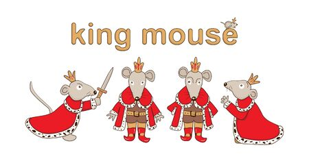 Mouse King set. Vector illustration isolated on white background. Cute cartoon character Ilustrace