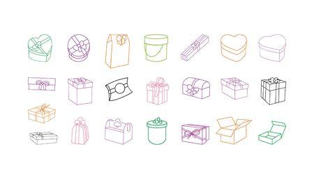 set of doodle gift boxes on white Stock Illustratie