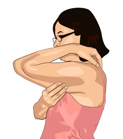 The girl clamps the fold of the hand with fingers. Women with fat hands