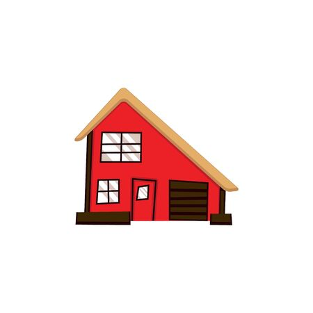 abstract cute house on white background. building facade