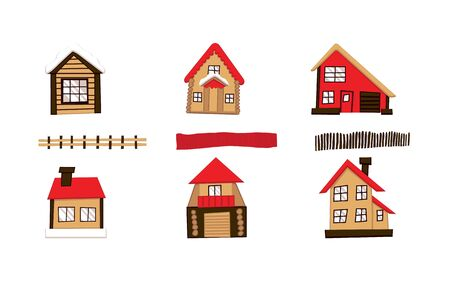Set of houses front view. Isolated vector illustration.